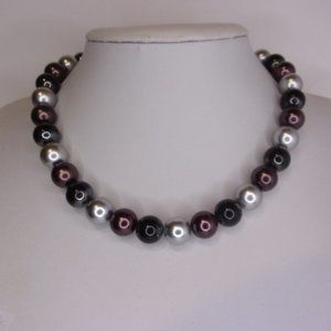"""Brown Gray Bead Choker Necklace 16"""" L"""